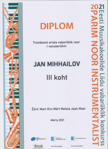 J.Mihhailov Noor instrumentalist 2021